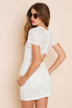 """Sweet Ivory Crochet Dress """"When I am down traveling the bustling streets of Mexico, I will shop till I drop in this number."""""""