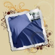 Navy Stripe Fitted Sheet 36 Inch Pocket Egyptian Cotton