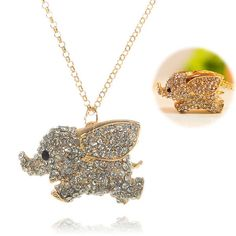 Fashion Man-Made Jewel Solid Dumbo Pendant Necklace Set with Diamond Sweater Chain - Golden in Necklaces | DressLily.com