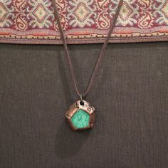 This lovely Turquoise pendant made of polymer clay, the pendant is decorated with special ethnic reliefs bronze metallic tone. For casual and elegant