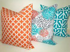 pillows orange teal throw pillow covers outdoor teal turquoise gray throw pillow covers indoor outdoor pillows 16 18 20x20