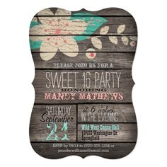 Pink & Turquoise Rustic Wood Sweet 16 Party Card
