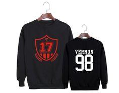 SEVENTEEN Vernon 98 K-POP Boy Band Black Hip Hop Fashion Sweatshirt #SEVENTEEN #Vernon #KPOP #BoyBand #Black #HipHop #Fashion #Sweatshirt #KIDOLSTUFF