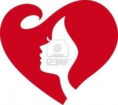 love heart shape woman face Silhouette