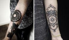 Mandala Blume links und schöne Kombination mit Kompass Motiv