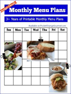 Budget Friendly Monthly Menu Plans | 3+ years of Printable Monthly Menu Plans | Available on PocketChangeGourmet.com