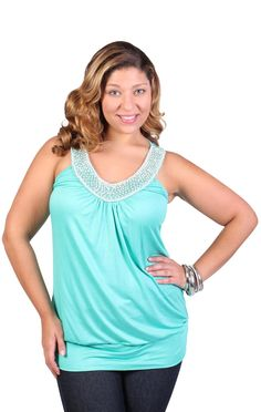 Deb Shops #plus #size tank with bead and pearl v neck
