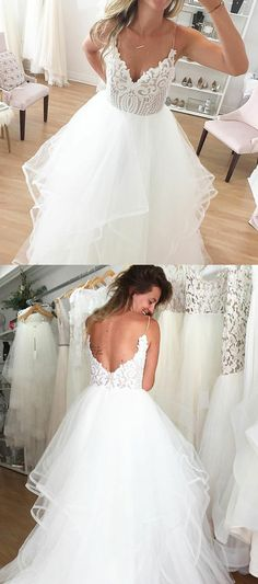 A-Line Spaghetti Straps Backless White Wedding Dress with Lace, unique v neck dream wedding dresses, dream backless lace top bridal gowns #weddingdress