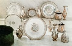 Late-Roman silver collection used in a rich villa in the Balaton area (Hungary) than part of the Roman Empire, in the late century Roman Empire, Handicraft, Antique Gold, Decorative Plates, Sculptures, Antiques, Silver, Home Decor, Random Thoughts