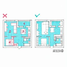 Interior Design Tips, Interior Decorating, Floor Plan Sketch, Interior Architecture Drawing, One Room Apartment, Design Guidelines, House Layouts, House Floor Plans, School Design