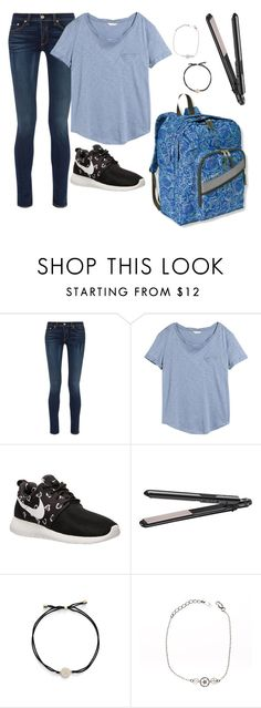 """""""Outfit tomorrow"""" by skatetofreedom ❤ liked on Polyvore featuring rag & bone, H&M, NIKE, L.L.Bean, BaByliss, Nadri and T'as pas l'heure"""