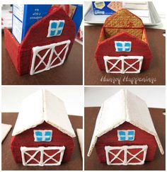 Graham cracker houses don't just have to be for the holidays. You can have fun making this Graham Cracker Barn any time of year. Farm Birthday Cakes, Animal Birthday Cakes, 2nd Birthday Party Themes, Farm Animal Birthday, Animal Cakes, 1st Boy Birthday, Birthday Parties, Fondant Figures, Farm Party Foods