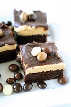 triple layer cappuccino brownies