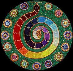 Rainbow Snake Huichol yarn painting by Justo Benitez Sanchez, reminds me of Chakra art Rainbow Snake, Rainbow Serpent, Yarn Painting, Chakra Art, Indigenous Art, Visionary Art, Mexican Folk Art, Illustrations, Aboriginal Art