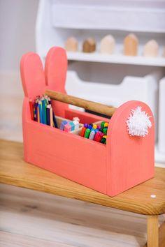 Porte-crayon en bois lapin organisateur de bureau lièvre | Etsy