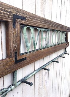 Welcome Sign and HookIron Wall DecorDoor HookCoat by TheIronNook