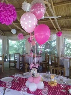 Minnie Mouse Birthday Decorations, Minnie Mouse Theme, Mickey Mouse Clubhouse Birthday, Mickey Mouse Birthday, Baby 1st Birthday, Festa Mickey Baby, Mickey Mouse Baby Shower, Mickey Party, Minnie Maus Ballons