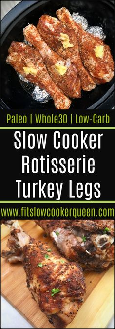 Slow Cooker/Instant Pot Rotisserie Turkey Legs It doesn't have to be Thanksgiving to appreciate this easy turkey legs recipe. Make these rotisserie seasoned legs in your slow cooker or Instant Pot. Crockpot Turkey Legs, Turkey Leg Recipes, Slow Cooker Turkey Wings, Turkey Meals, Turkey Dishes, Turkey Drumstick Recipe, Drumstick Recipes, Low Carb Slow Cooker, Slow Cooker Recipes