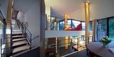Split-level woning in Aerdenhout Stairs, Loft, Bed, House, Furniture, Home Decor, Stairway, Decoration Home, Stream Bed