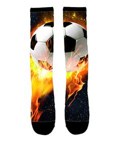 8158d1eec79 Love this Flaming Soccer Ball Sublimated Knee-High Socks by Sporteez on