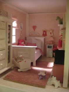 dollhouse bedroom leads some really great photo modern american girl Miniature Rooms, Miniature Furniture, Doll Furniture, Dollhouse Furniture, Girls Dollhouse, Dollhouse Dolls, Dollhouse Miniatures, Dollhouse Ideas, Modern Dollhouse