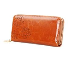 EClover Designer Carved Floral Purse Organizers Zipper Around Wallet Brown * Details can be found by clicking on the image.