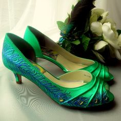 Emerald Green Shoes , Wedding Shoes , Painted Shoes, Emerald Peacock , Peacock…
