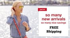 """""""So Many New Arrivals/So Many Nice Savings"""" – Source: mojosavings.com for TJ Maxx Strategy: Norm of Reciprocity & Scarcity Principle Description – This ad showcases a blonde model in mirrored sunglasses delicately touching her hair. She has a red purse strapped over her shoulder indicating she is capable and ready to shop."""