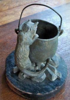Vintage Antique Halloween Match Holder - black cat , witch , cauldron | eBay