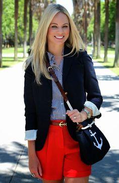 Preppy Look. Navy Blazer with Red shorts & belt Estilo Preppy, Estilo Navy, Nautical Outfits, Nautical Fashion, Preppy Summer Outfits, Nautical Style, Womens Preppy Outfits, Preppy Fashion, Petite Fashion