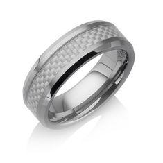 "Tungstino Ring ""Carbon Fiber Shiny White"" Wolframcarbid"