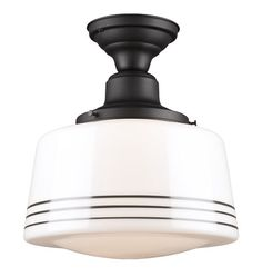 JEFFERSON 6IN Classic Flush Ceiling Fixture Item #A8513 w/ 12in Striped Schoolhouse Drum Shade