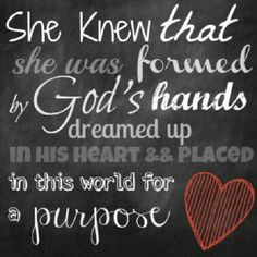 She knew that she was formed by God's hands, dreamed up in His heart and placed in this world for a purpose. #cdff #dating #christiandating #onlinedating