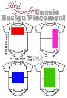 Heat transfer vinyl onesie design placement ideas.