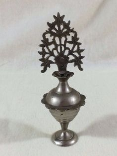 ANTIQUE ARAB ZANZIBAR KHOL EYELINER CONTAINER Nickle-Plated Brass Tree of Life