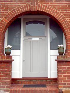 front door with side panels Front Door Design, Front Door Colors, 1930s Doors, 1930s House Interior, Unique Front Doors, Art Nouveau, Doors And Floors, Cottage Door, Front Door Makeover