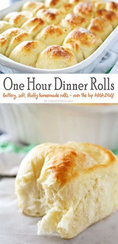 Bread - One Hour Dinner Rolls are made with this easy yeast rolls recipe. Buttery, soft, fluffy dinner rolls are undeniably delicious & literally take just 60 minutes to make! My favorite roll recipe ever! The perfect recipe for holidays & gatherings. Fluffy Dinner Rolls, Dinner Rolls Easy, Homemade Dinner Rolls, Homemade Yeast Rolls, Homemade Breads, Easy Rolls, Easy Sunday Dinner, Sweet Dinner Rolls, Dinner For One