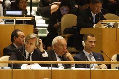 Don Felipe en la Sala del Plenario de las Naciones Unidas acompañado por el ministro de Asuntos Exteriores y de Cooperación, José Manuel García-Margallo, y el embajador Representante Permanente de España ante las Naciones Unidas, Román Oyarzun Marchesi Sede de las Naciones Unidas en Nueva York. (EE.UU.), 25.09.2015