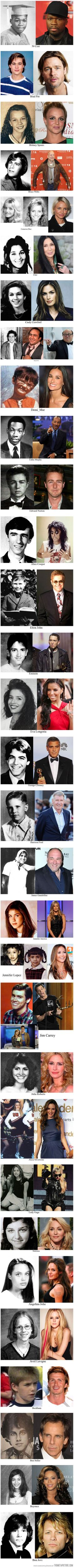 Celebrities now and then