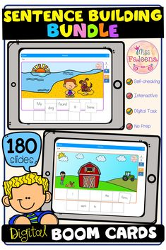 There are 5 resources with 150 slides of sentence building in this bundle. Students will unscramble the sentences by dragging and dropping the words. Students are encouraged to use thinking skills while improving their reading skills. Pre-K | Kindergarten | First Grade | Reading | Sentence Building Bundle | Boom Learning | Boom Cards | Digital Task Cards Learning Tools, Learning Resources, Sentence Building, First Grade Reading, Cooperative Learning, Thinking Skills, Elementary Education, Reading Skills, Google Classroom