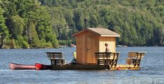 The floating sauna is primed and ready to go for spring Eco Adventures at the Algonquin Cottage Outpost.
