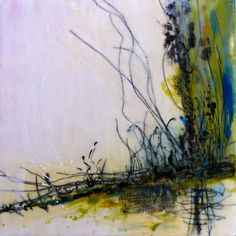 "Linda Virio - Threadleaf - 12 X 12"" Encaustic, collage"