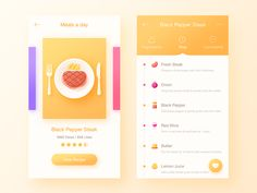 Daily UI It& food app for black pepper steak~ Hope you like it. Web Design, App Ui Design, Interface Design, User Interface, Android Design, Flat Design, Don Chuy, Cocktail App, Ui Design Inspiration
