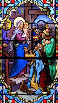 Vitrail. L'adoration des rois mages. France