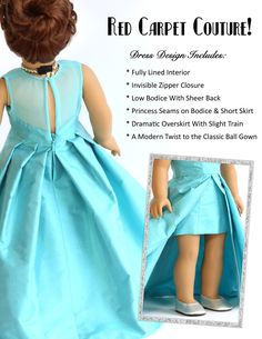 """Opening Night Dress 18"""" Doll Clothes Pattern"""