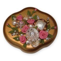 Show details for Vintage Aleene's Bread Dough Roses Jewelry Box