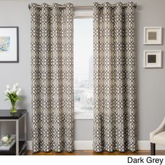 Instantly update your home decor with the Kaili window treatment, offering a modern scroll look on faux linen. This casual curtain panel is finished with grommets for easy hanging.