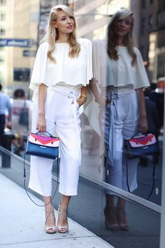 feminine blouse with white pants