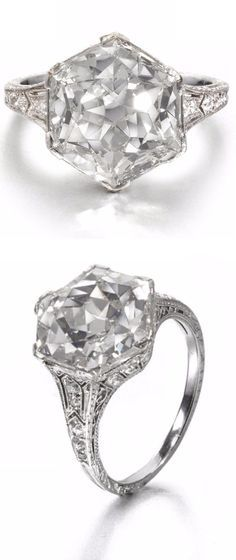 A Belle Époque diamond single-stone ring, circa 1910 The old hexagonal-cut diamond, weighing carats, within a delicatedly pierced platinum mount millegrain-set with old brilliant and single-cut diamonds, the reeded hoop with further engraved decoration Diamond Gemstone, Diamond Jewelry, Diamond Rings, Ruby Rings, Fine Jewelry, Women Jewelry, Fashion Jewelry, Antique Jewelry, Vintage Jewelry