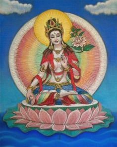 Tibetan Buddhism Goddess White Tara, a female Buddha spiritual art painting by Sue Halstenberg. This is the one and only original pastel Art Buddha, Buddha Kunst, Tara Goddess, Goddess Art, Ganesha, Shiva, Tibetan Art, Tibetan Buddhism, Artist Portfolio